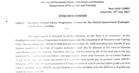 MACP: Clarification by DoPT on Fixation of Pay - Government