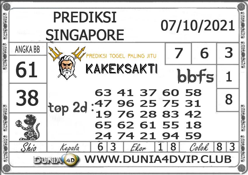 Prediksi Togel SINGAPORE DUNIA4D 07 OKTOBER 2021