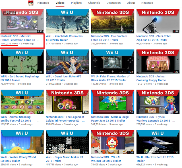 Metroid Prime Federation Force YouTube Nintendo channel views one million