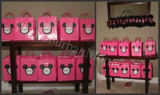 Sencillas bolsas para sorpresas de Mickey y Minnie. Fiestas infantiles.
