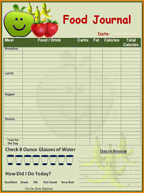 free food diary templates