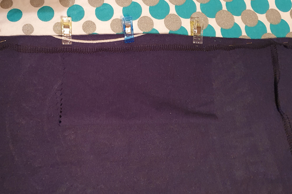 Top section of the snood with an inside pocket added for filters