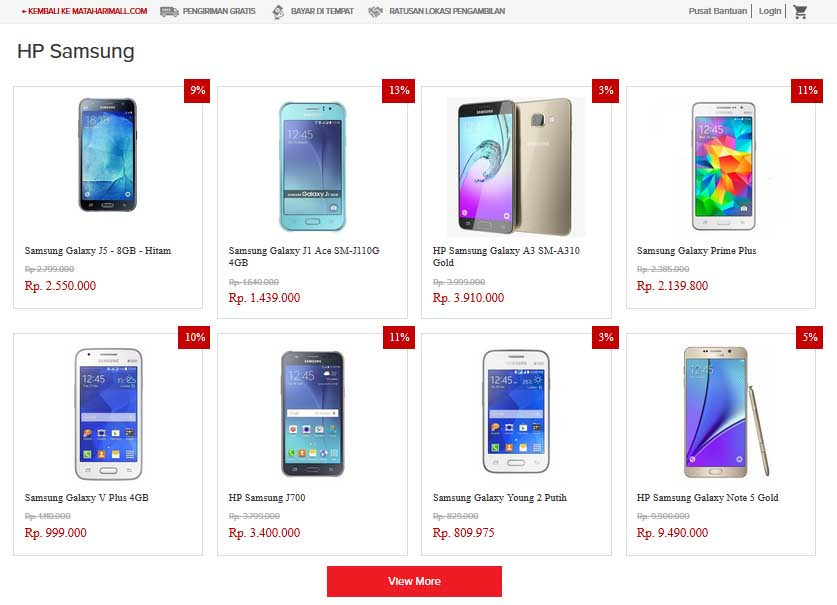 Daftar Harga HP Samsung Terbaru di Mataharimall.com