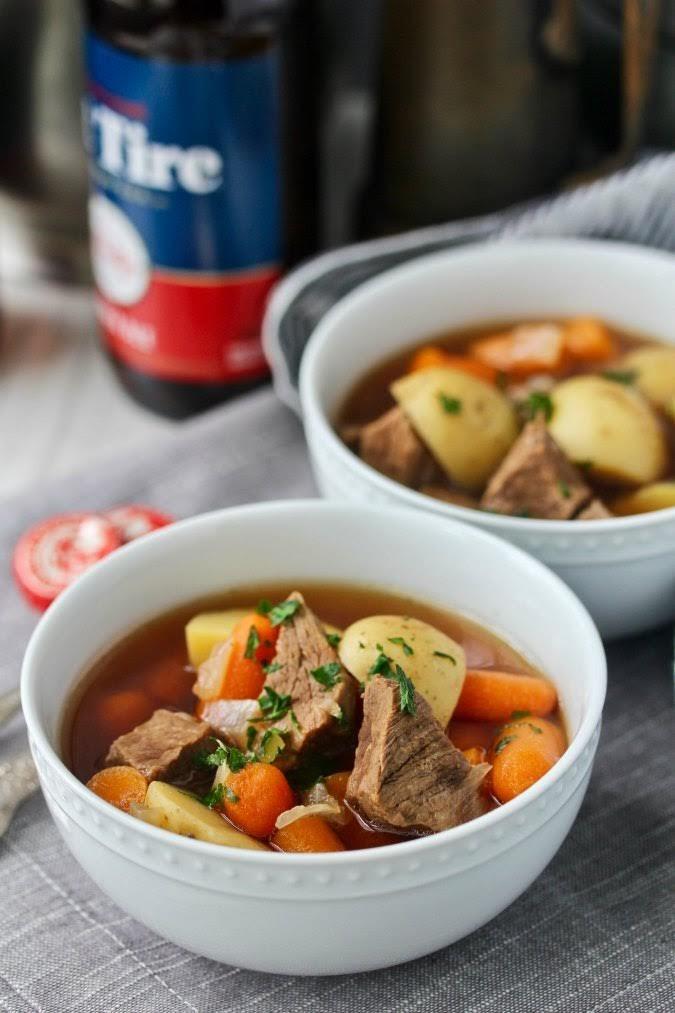 Pressure Cooker Beef and Beer Soup | Karen's Kitchen Stories