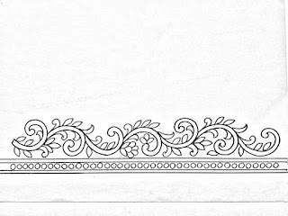 Hand embroidery saree border design patterns on pencil sketch