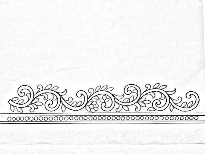 Hand embroidery design -06 | How to draw an easy borders design for hand embroidery
