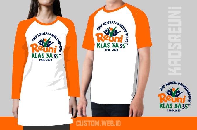 Sablon Kaos Reuni Raglan Kombinasi Orange Putih - Kaos Reuni Online