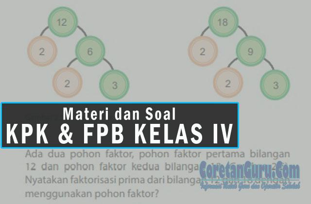 Materi dan Contoh Soal Materi Matematika KPK dan FPB SD Kelas IV Semester 1 Kurikulum 2013