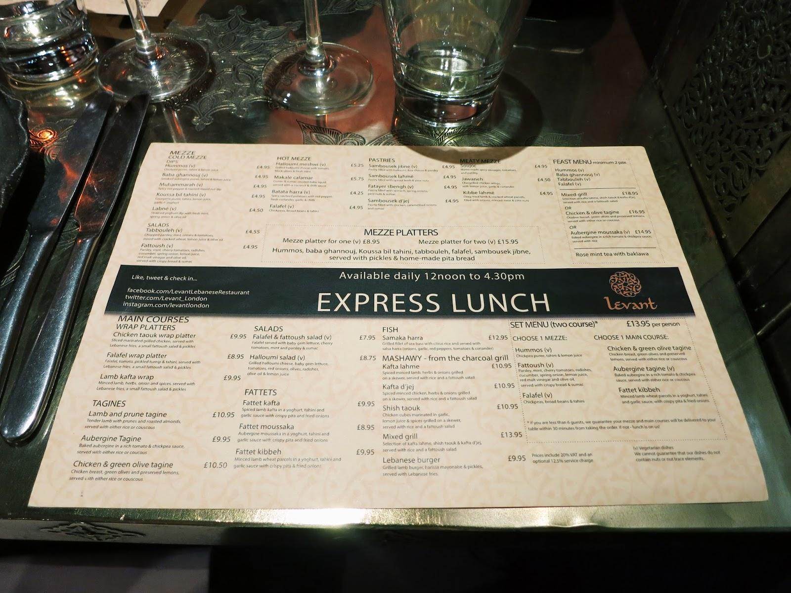 levant restaurant menu