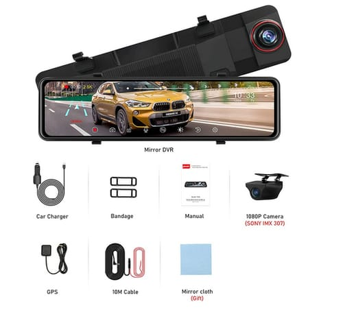 Jansite IPS Full Touch Screen Rear View Mirror Camera