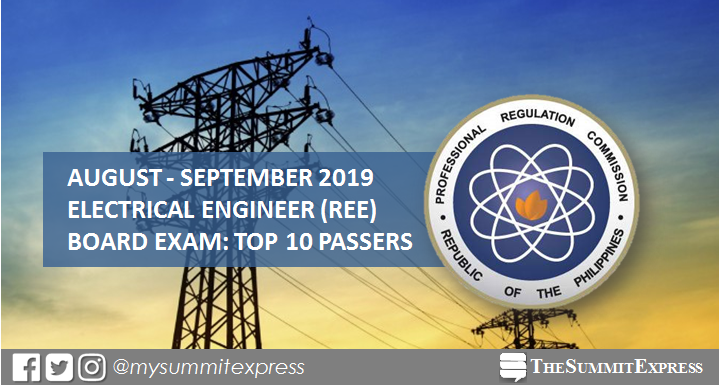 TOP 10 PASSERS: Electrical Engineer REE board exam result August - September 2019