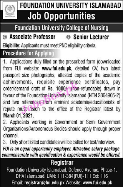 foundation-university-of-islamabad-fui-jobs-2021-download-application-form
