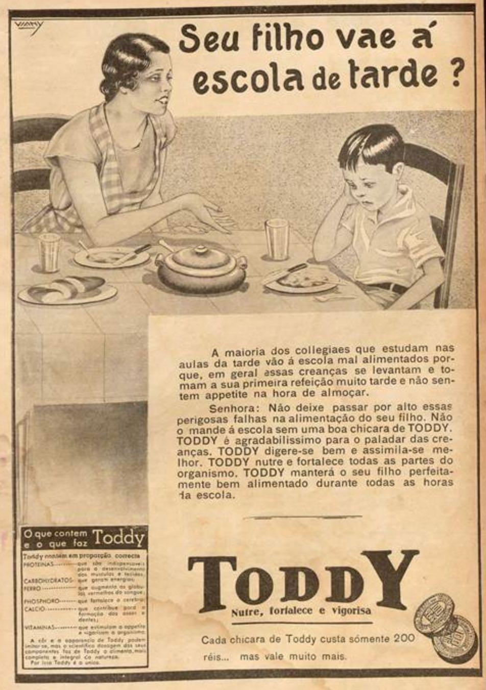 Anúncio antigo do achocolatado Toddy para a saúde das crianças em 1934