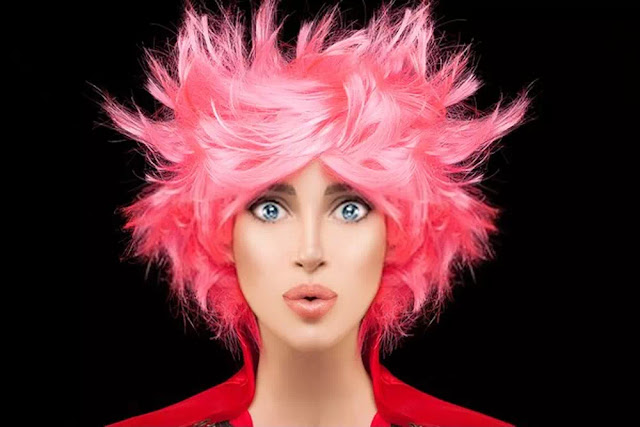 trendy dyed pink spiky hairstyle
