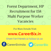 Forest Department, HP Recruitment for 158 Multi Purpose Worker Vacancies