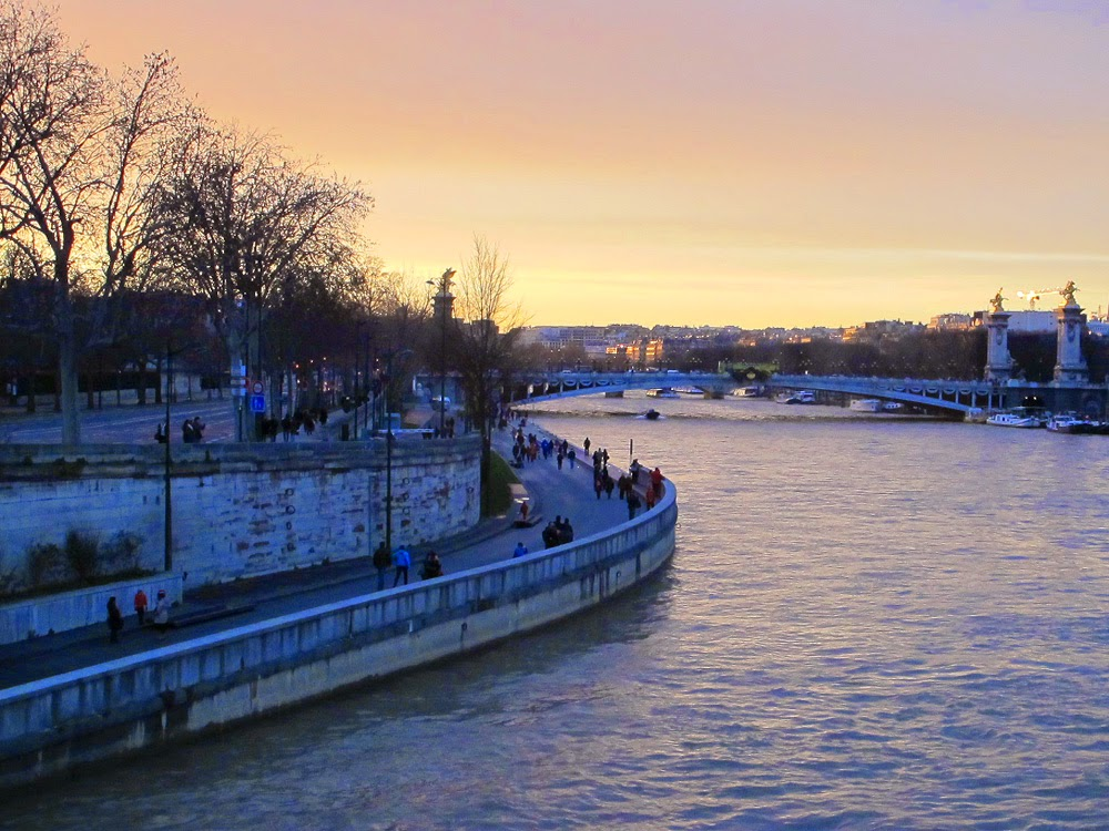 The Seine river at dusk, Paris
