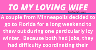 A couple from Minneapolis decided to go to Florida for a long weekend to thaw out during one particularly icy winter.  They planned to stay at the same hotel where they spent their honeymoon 20 years earlier.    Because of their hectic schedules, it was difficult for the couple to coordinate their travel plans. So the husband left Minnesota and flew to Florida on Thursday, while his wife planned to fly down the following day.    The husband checked into the hotel. There was a computer in his room, so he decided to send an email to his wife. However, he accidentally left out one letter of her email address, and sent the email without realizing his error.    Meanwhile, somewhere in Houston, a widow had just returned home from her husband's funeral. He was a Baptist minister who was called home to glory following a heart attack.    The widow decided to check her email, expecting condolence messages from family and friends.    But after reading her very first email, she screamed and fainted.    The widow's son rushed into the room, found his mother on the floor, and saw the computer screen which read:    To: My Loving Wife From: Your Departed Husband Subject: I've Arrived!      I know you're surprised to hear from me. They have computers here now and you are allowed to send emails to your loved ones. I've just arrived and have been checked in.    I've seen that everything has been prepared for your arrival tomorrow. Looking forward to seeing you then! Hope your journey is as uneventful as mine was.    P. S. Sure is freaking hot down here!!!