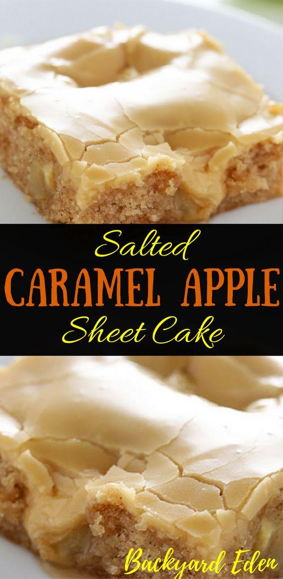Salted Caramel Apple Sheet Cake Recipe