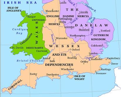 Anglia és Wessex királysága 886-ból