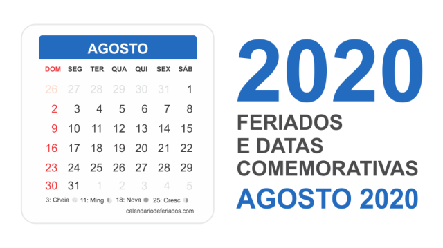 Calendário de Agosto 2020