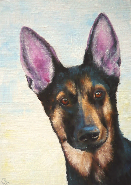 oil painting of a German Shepherd puppy with very big ears, pet painting by Karen