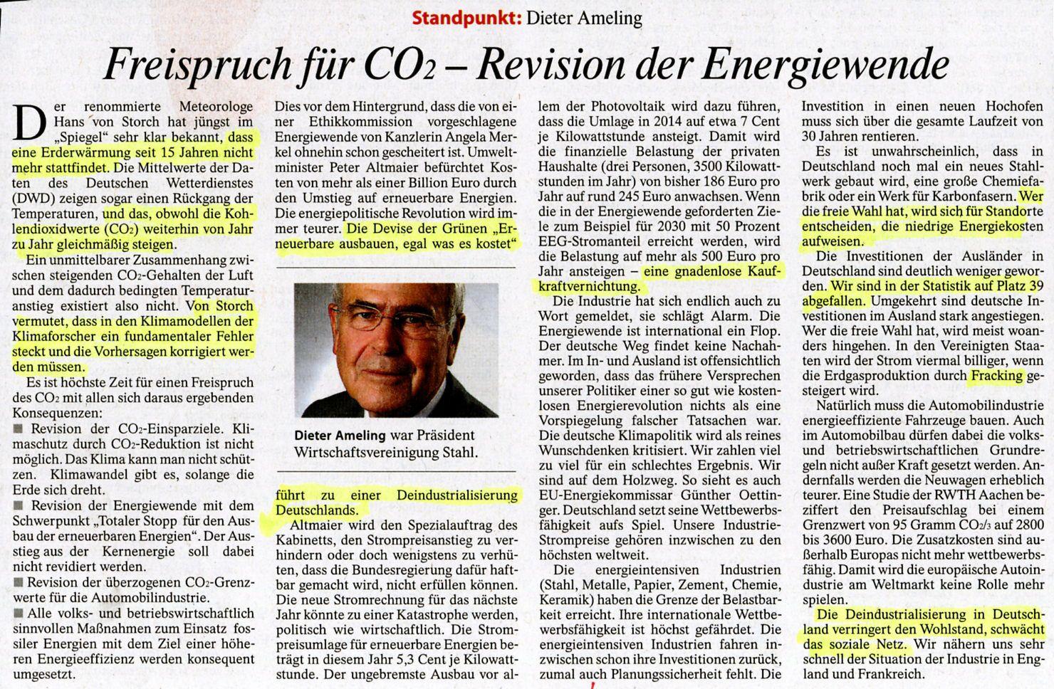 Die Klimazwiebel: Ameling in der FAZ: Freispruch für CO2