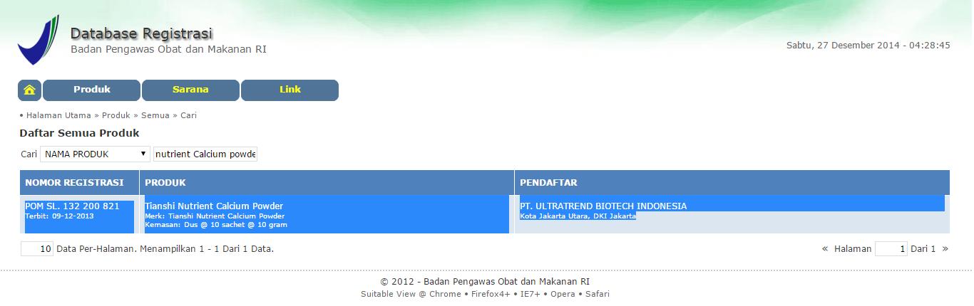 Nama Produk: Tianshi Nutrient Calcium Powder No registrasi BPOM: POM SL. 132 200 821 Pendaftar PT. Ultratrend Biotech Indonesia