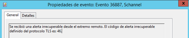Windows: Errores schannel, ejemplos: