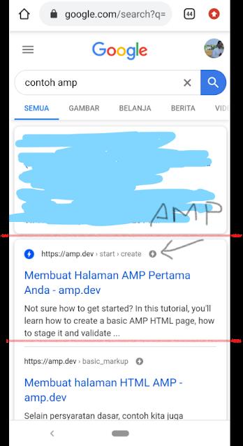 Contoh hasil pencarian AMP