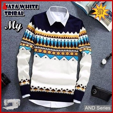 AND295 Sweater Pria Naza Putih Tribal BMGShop