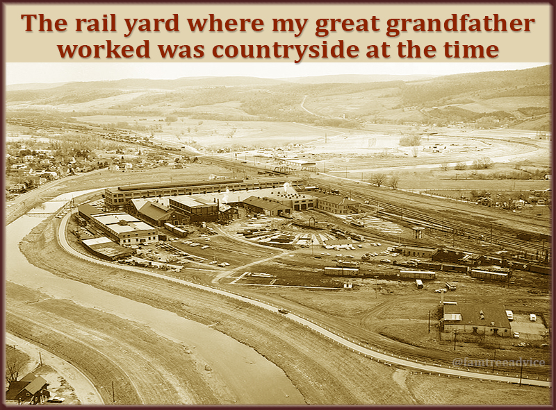 I stood beside this rail yard in Hornell, New York, in 2015, imagining my great grandfather's life.
