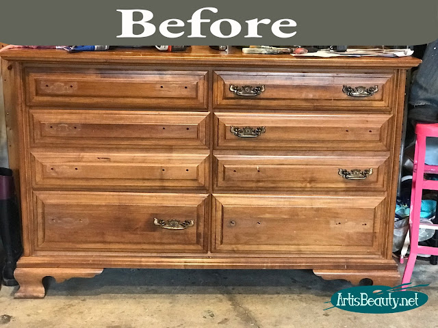 beat up old vintage dresser given a refresh with general finishes westminster green milk paint and gel stain