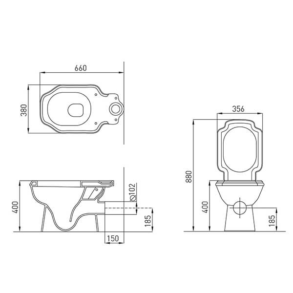 مقاسات مرحاض كليوباترا اليجانس