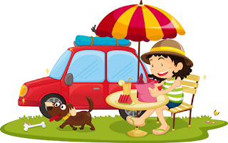Clipart Image of a Girl and a Dog Having a Picnic at a Table Beside a Car