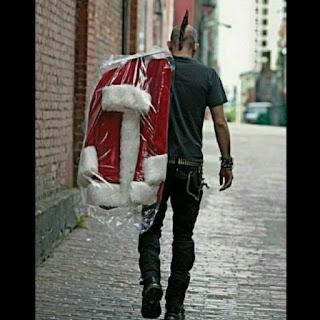Punky llevando traje de Papa Noel para Navidad