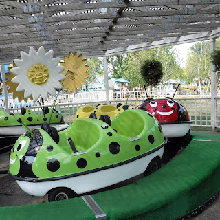 red and green ladybug cars ride past giant daisies in the preschool ride at Adventureland Park near Des Moines, Iowa