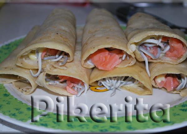 Tortitas mexicanas con salmón y gulas