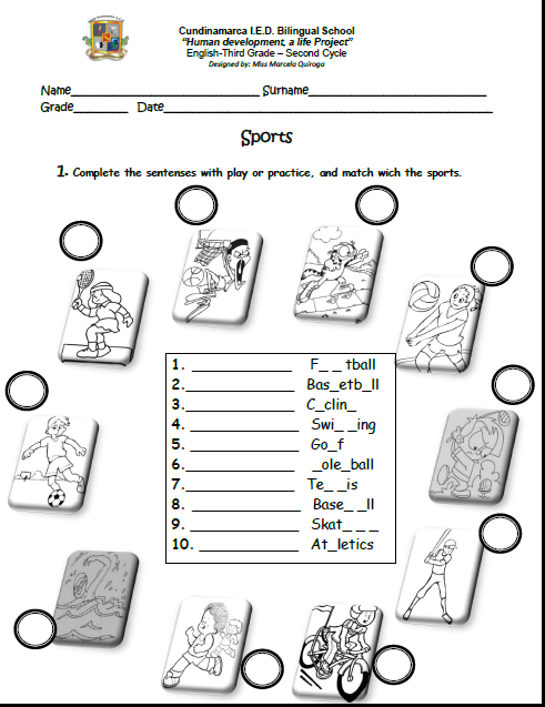 English Fourth Graders´ Zone: SECOND ENGLISH WORKSHEET