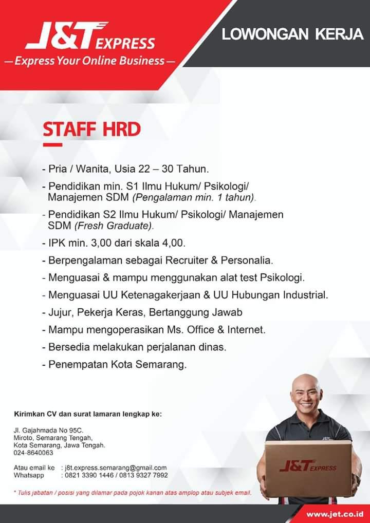 Lowongan Kerja Staf Hrd J T Express Semarang Segera Loker Swasta