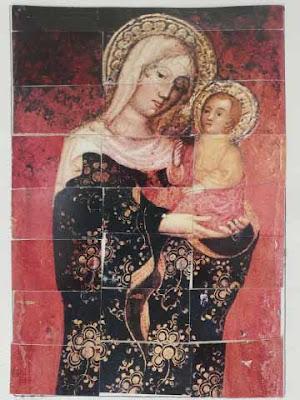 Immagine della Madonna composta da vari tasselli che avrebbero dato diritto a un gelato