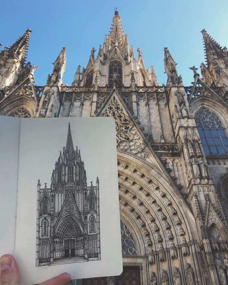 10-Barcelona-s-Cathedral-Alex-Pantela-Ink-Urban-Architectural-Drawings-www-designstack-co