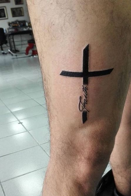 Thigh Cross Tattoo with Text