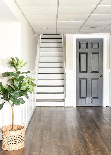 Board and batten in a basement stairway