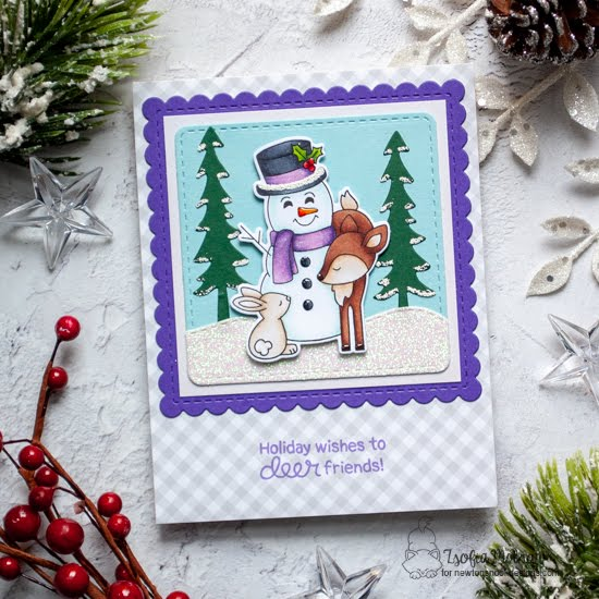 Deer Holiday Wishes Card by Zsofia Molnar | Festive Fawns Stamp Set, Forest Scene Builder Die Set and Frames Squared Die Set by Newton's Nook Designs #newtonsnook #handmade