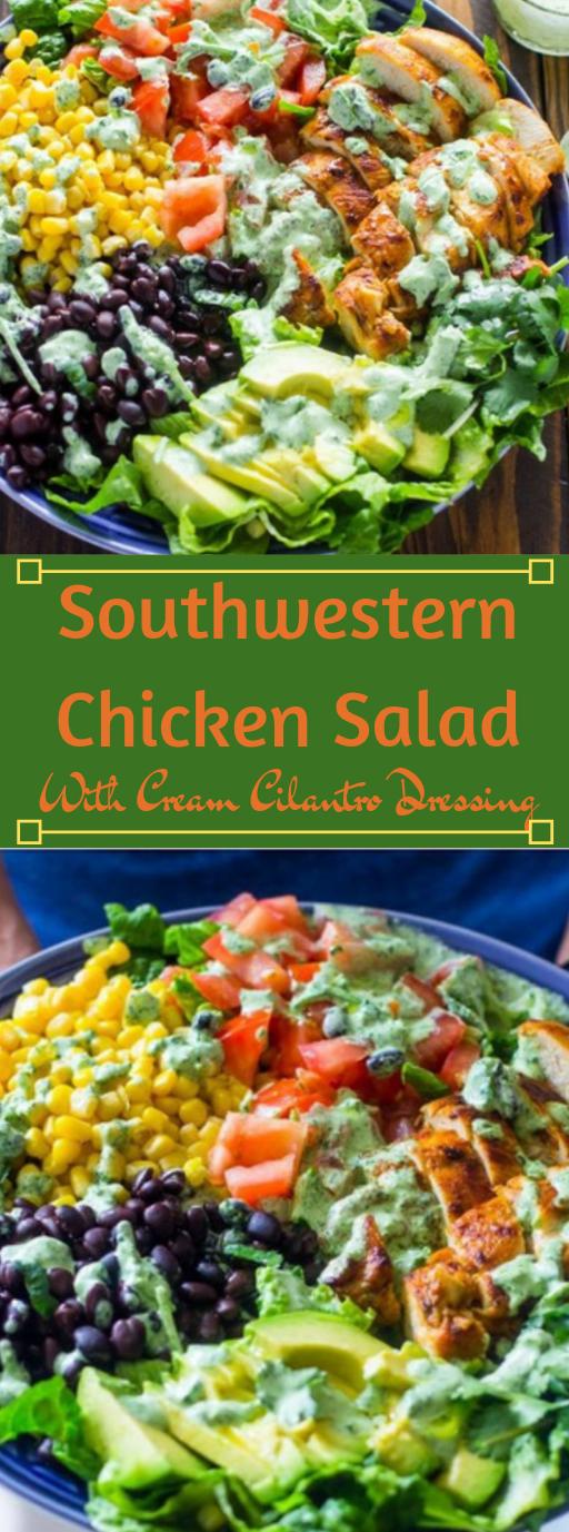 SOUTHWESTERN CHICKEN SALAD WITH CREAMY CILANTRO DRESSING #vegan #vegetable #chicken #easy #dinner