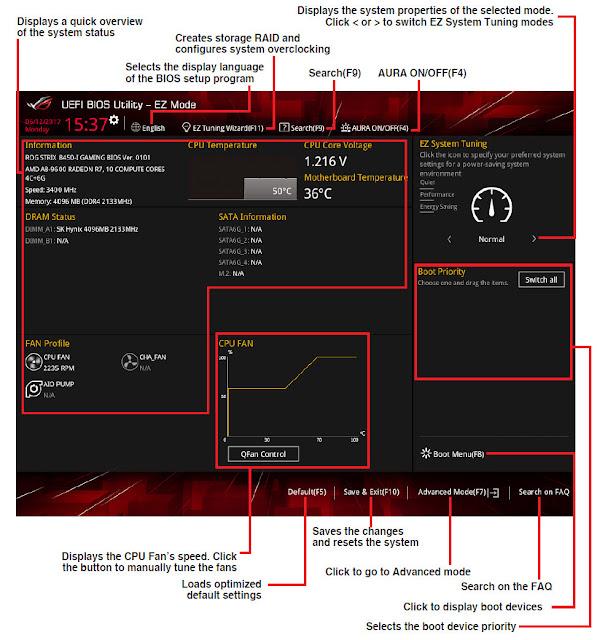 BIOS UEFI ASUS ROG STRIX B450-i GAMING