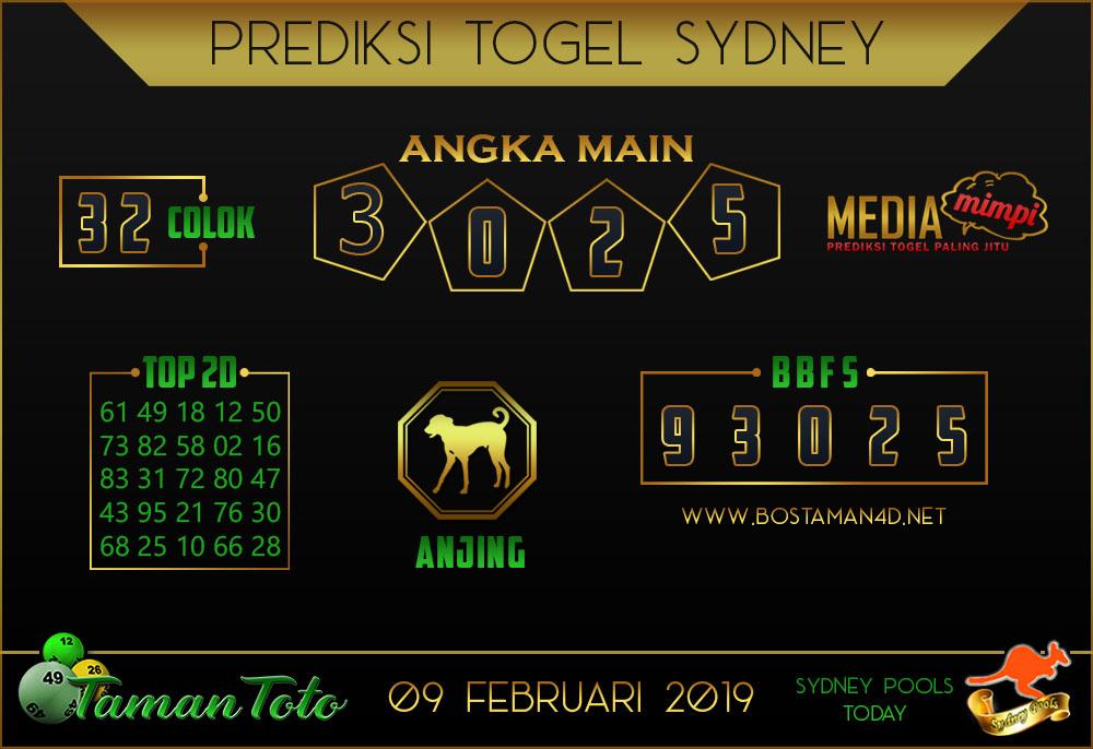 Prediksi Togel SYDNEY TAMAN TOTO 09 FEBRUARI 2019