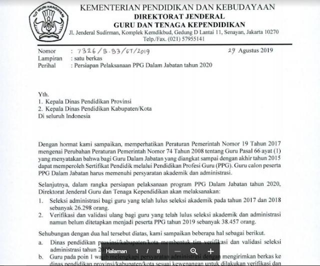 Update Terbaru Tentang Persiapan Pelaksanaan PPG Dalam Jabatan tahun 2020