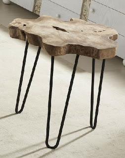 mesa de forja y tronco de arbol