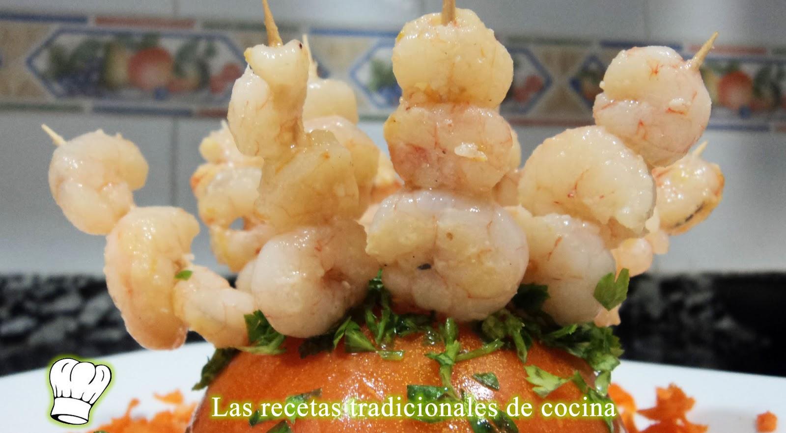 Recetas De Cocina Con Sabor Tradicional Pinchos De Gambas Al Ajillo Receta Simple